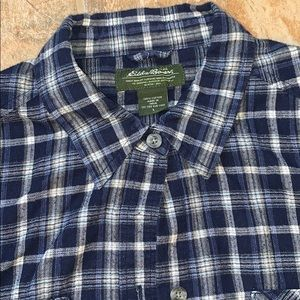 Eddie Bauer L Blue white plaid flannel